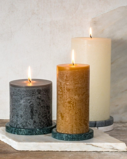 Dassie Artisan marble candle disk holder green