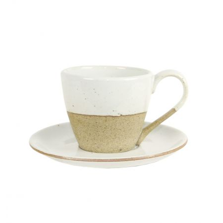 Earthware cup and saucer