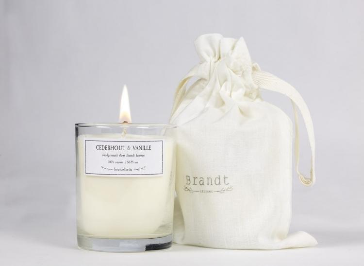Cedarwood & Vanilla soy wax candle - Brandt Kaarsen