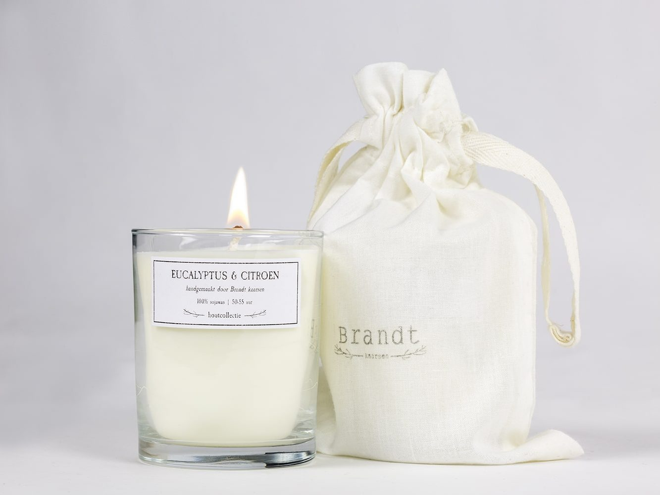 Eucalyptus & Lemon soy wax candle - Brandt Kaarsen